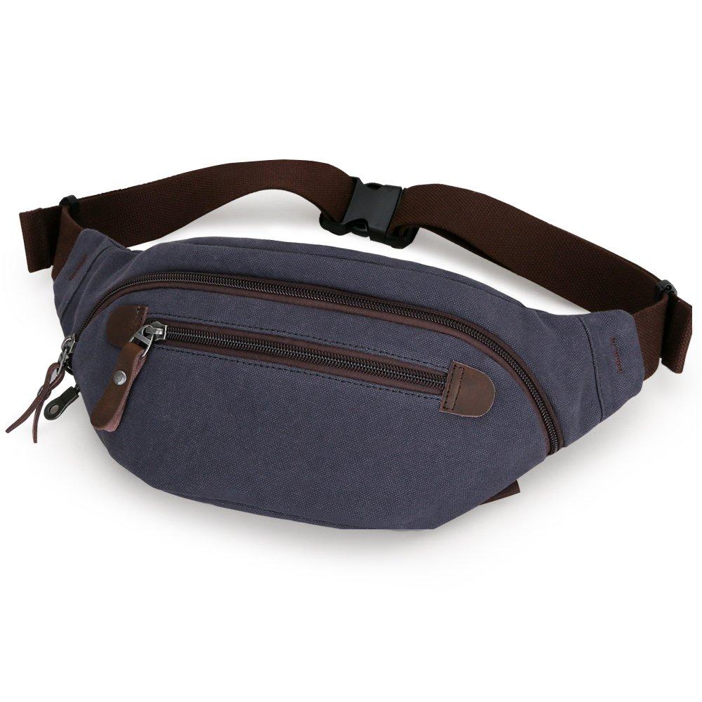 Muzee Mens Canvas Waist Pack Running Sling Backpack Crossbody Bag Fanny Packs (Black Blue)