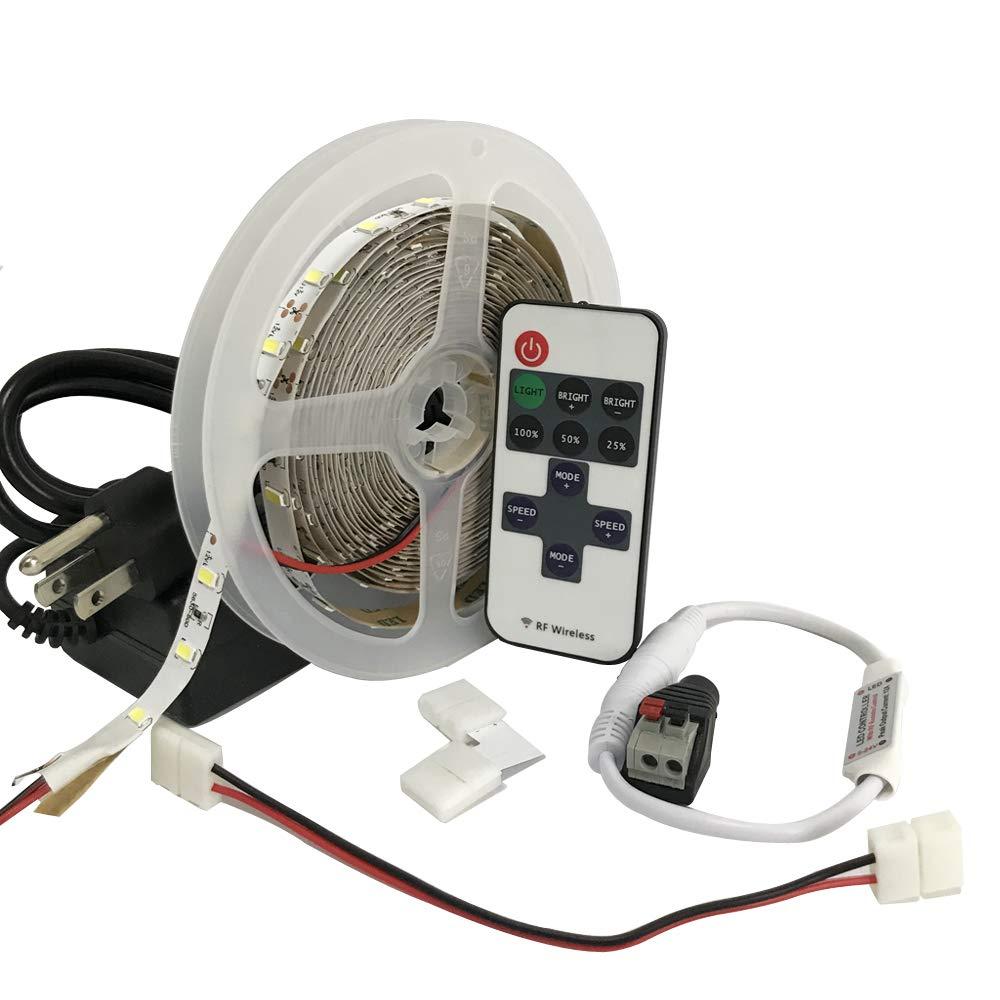 LED Kit White Lights Room Kitchen Closet Lighting - Complete Bright LED Kit for Kitchen Counter Lighting - 12V LED RF Controller - Power Supply