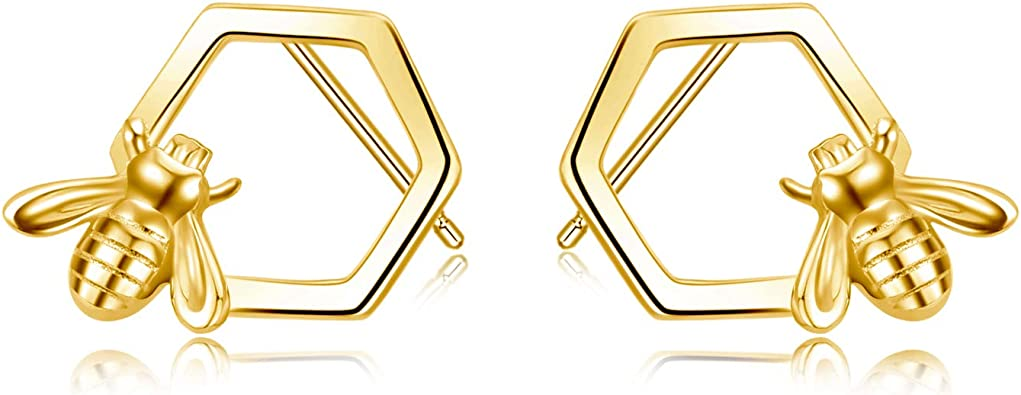 Honeycomb with Bee Stud Earrings for Women