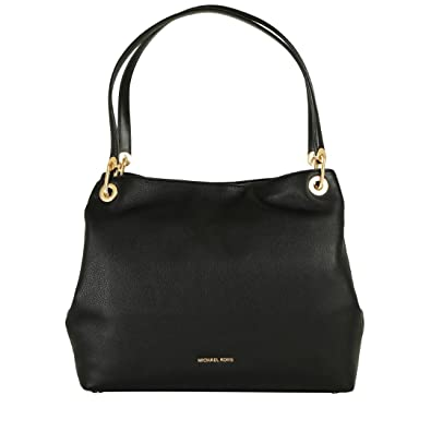 637dd57ff47f4c Amazon.com: MICHAEL Michael Kors Womens Raven Leather Shoulder Handbag Black  Large: Shoes
