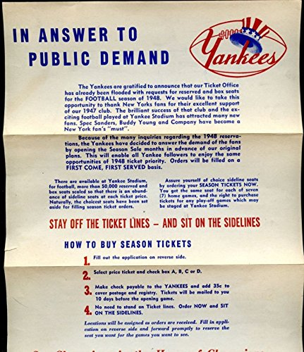 - 1948 New York Yankees Football Season Ticket Application