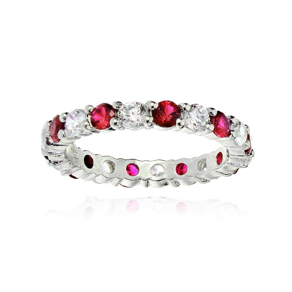 Sterling Silver Created Ruby and Cubic Zirconia Wedding Band Ring, Size 7