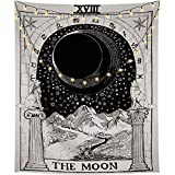 Volcanics Tarot Tapestry Wall Tapestry Hanging The Moon Tapestry The Star Tapestry Art Tapestry Bedding Medieval Europe Divination Tapestry Mysterious Night Tapestry for Home Decor (51''×59'', The Moon)