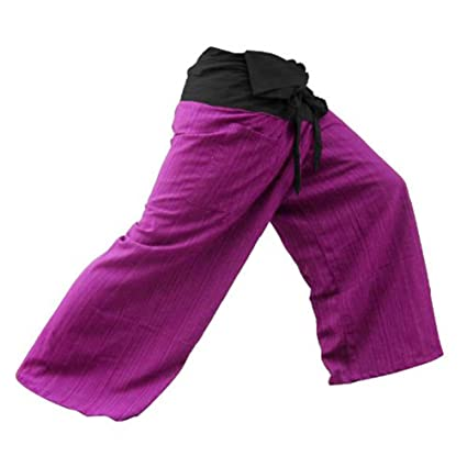 af71c373c7 Image Unavailable. Image not available for. Color: 2 Tone Thai Fisherman Pants  Yoga Trousers Free Size Cotton Black and Hot pink