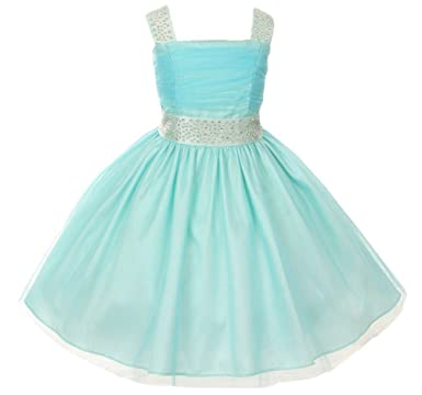 406bc657f BNY Corner Flower Girl Dress Feature Studded Strap & Wasitband Rhinestone  For Little Girl Aqua 2