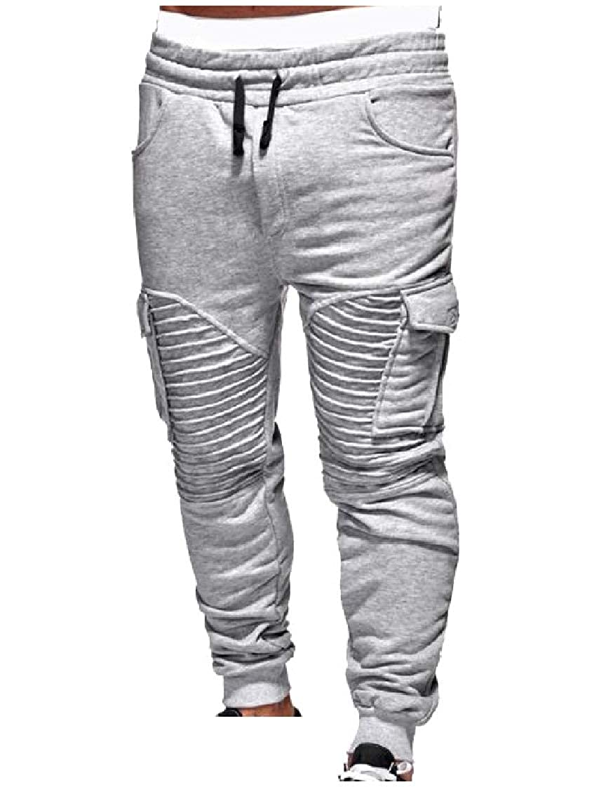 Energy Mens Drawstring Waist Cozy Gym Pockets Patched Pleated Jogger Sport Pants