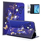 Tab E 8.0'' Case, Samsung Glaxay SM-T377a Case, Dteck Cute Cartoon PU Leather Flip Stand Case with [Silicone Back Cover] for Galaxy Tab E 32GB SM-T378/Tab E 8.0 SM-T375/SM-T377, Violet Butterfly