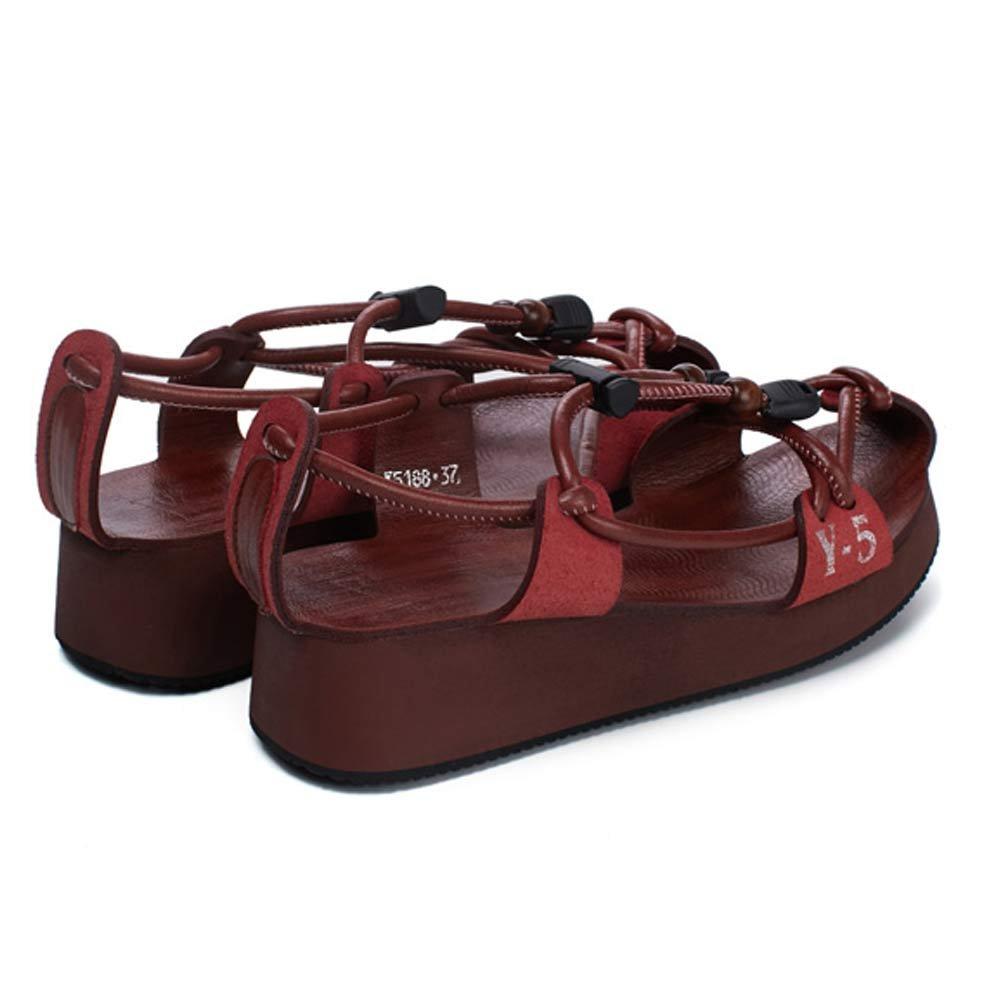 LIURUIJIA Elastic LIURUIJIASummer Elastic LIURUIJIA Band Genuine Leather Rome Flat Sandals Casual Vacation Beach Shoes Couple Shoes for Men and Women EU Size 36 - US B(M) 5.5|Women Wine Red B0792XTH8Z 301db8