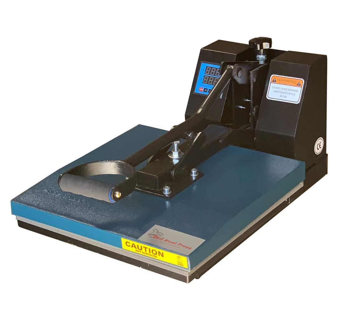 Black DG Heat Press Black Blue Fancierstudio DG Digital Heat Press Industrial-Quality Digital 15-by-15-Inch Sublimation T-Shirt Heat Press