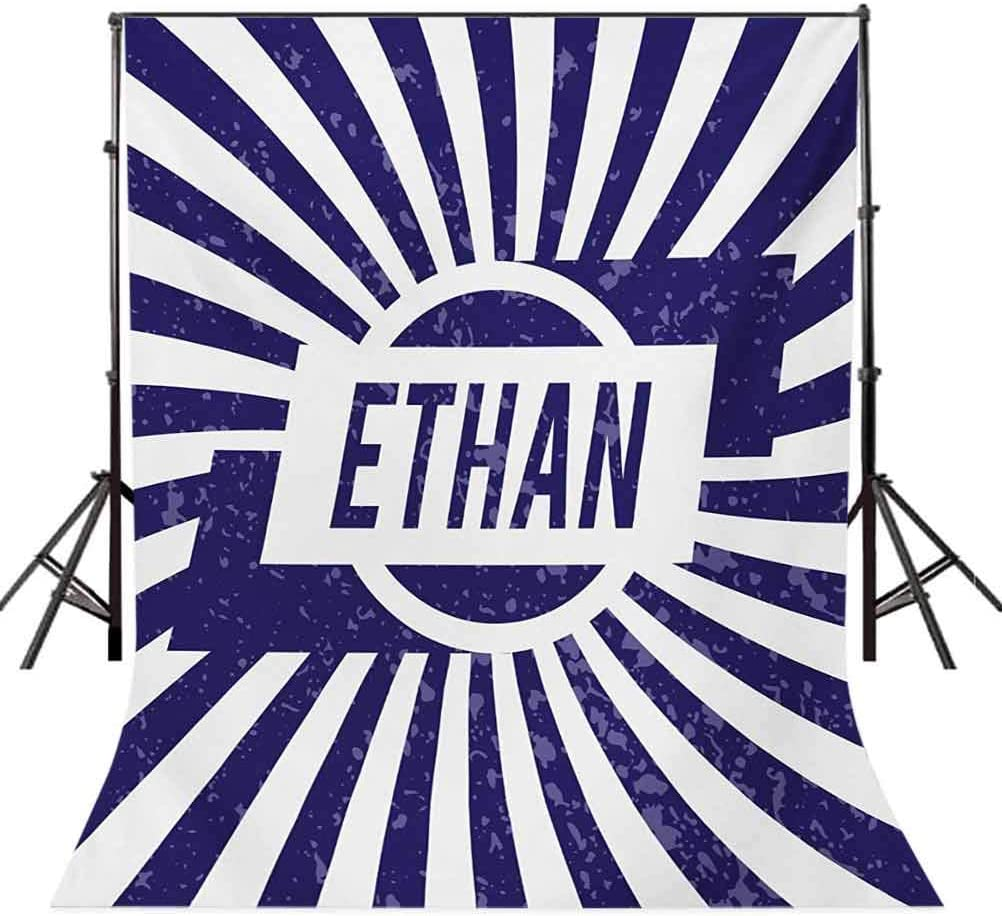 Ethan 8x10 FT Backdrop Photographers,Grunge Letters in Navy Blue in a Circle with Wavy Stripes Boys Birthday Background for Child Baby Shower Photo Vinyl Studio Prop Photobooth Photoshoot