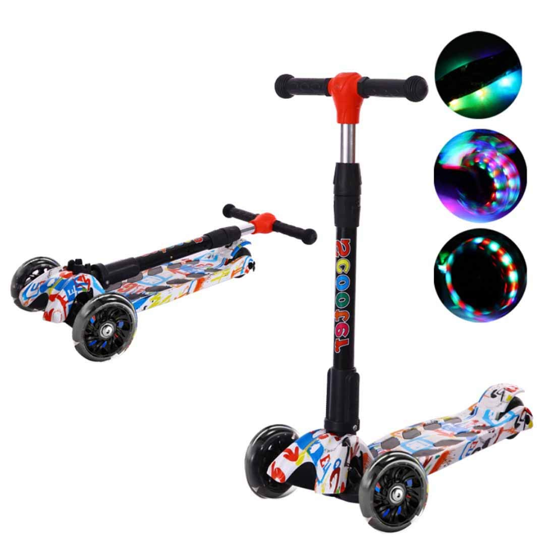 Pedal Scooter with Music Flash Teens 3-Wheeled Scooter Easy Folding Kick Scooter Durable Push Scooter Suitable for Age 3 Up Kids,White,Narrowwheel