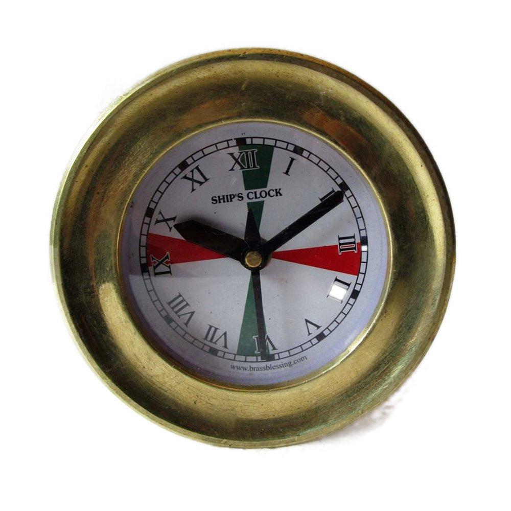 Brass Blessing SHIP'S BRASS Clock – Marine RADIO ROOM Clock – ROMAN - Boat/Maritime/Nautical (5010B)