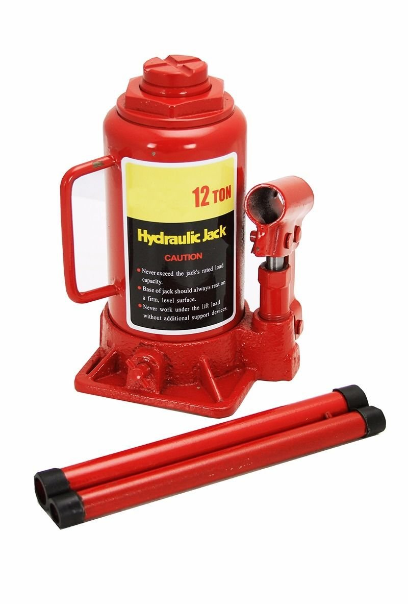 GHP 8''-15.25'' Lift Height Steel 12-Ton Capacity Hydraulic Bottle Jack with 2 Handles