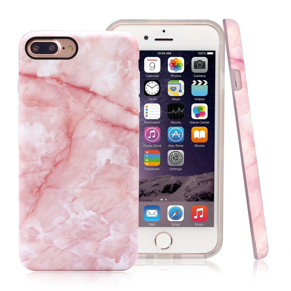 Nasousa iPhone 7 plus for Girls, IMD Printing Slim-Fit Ultra-Thin Anti-Scratch Shock Proof Dust Proof Anti-Finger Print TPU Case for iPhone 7 plus(5.5 inch)(Pink Marble)