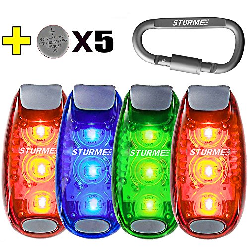 STURME LED Safety Light Clip On Strobe Running Lights for Runner Bicycle Bike Cycling Walking Jogging Accessories Flashing Reflective Gear Dog Collar Night Light 5 Bonuses Batteries (4 PACK)