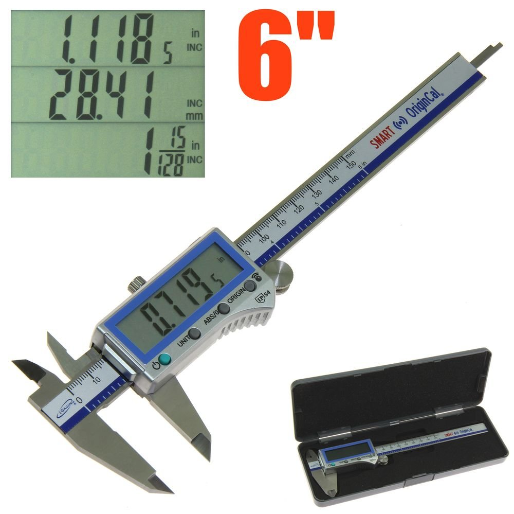 iGaging Digital Electronic Caliper Absolute Origin Smart Bluetooth Connectivity - IP54 Protection / Extreme Accuracy (6''/150mm)