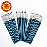 [60 Pack]Pointed Round Painting Brush,Hand Made Thread Drawing Brush,Detail Paint Brush for Acrylic, Oil and Watercolor (Mix(20S+20M+20L))