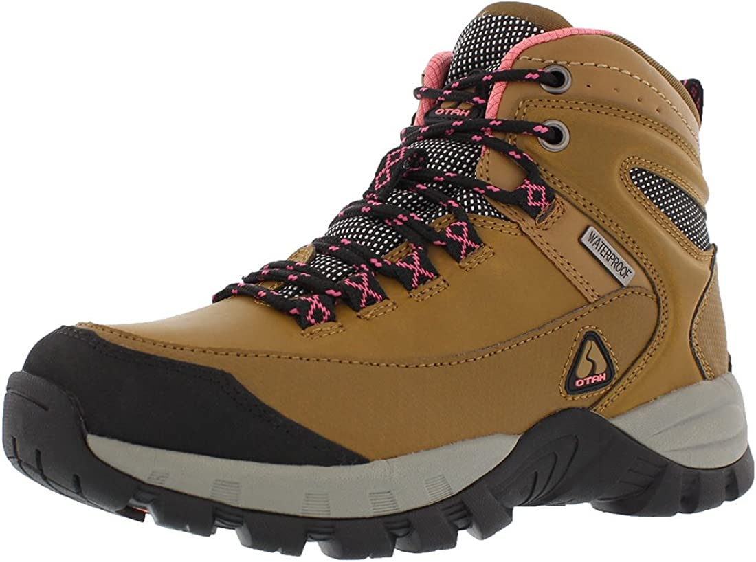 OTAH Forestier Women's Waterproof Hiking Mid-Cut Camel/Pink Boots