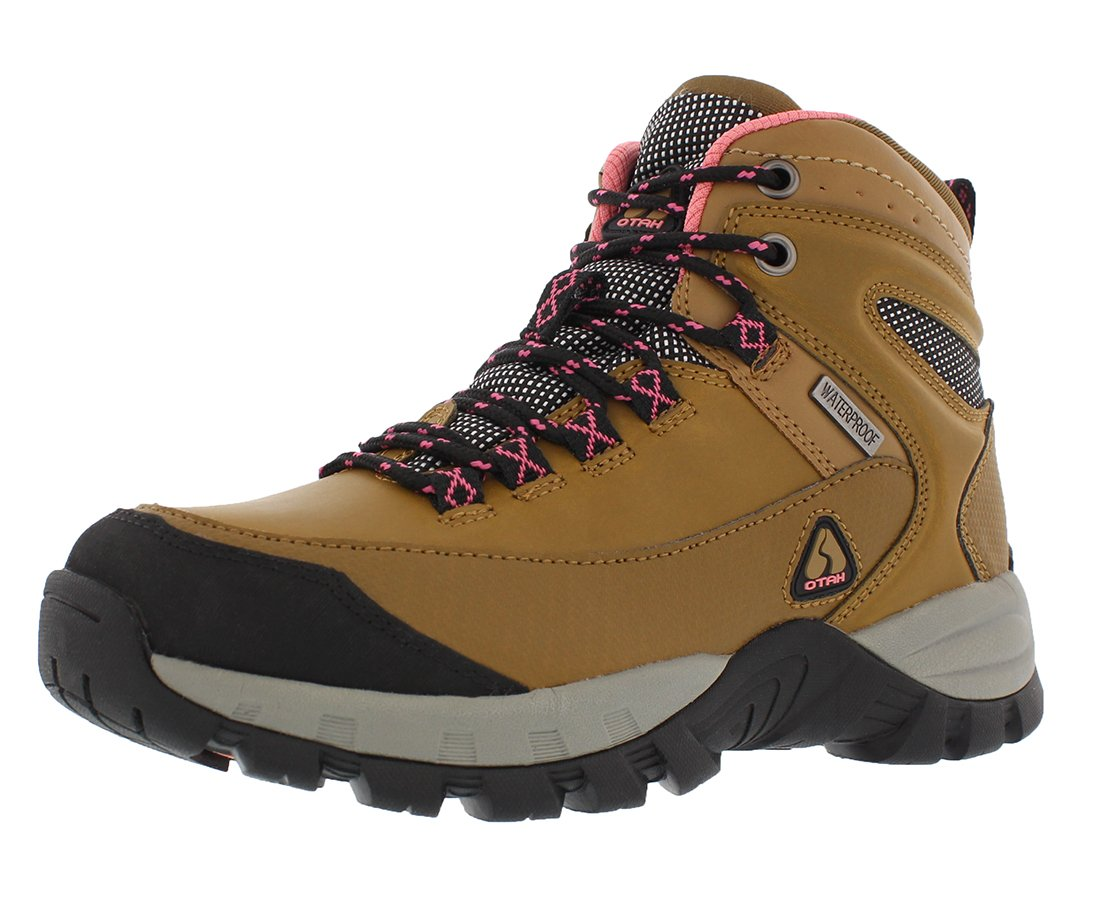 OTAH Forestier Women's Waterproof Hiking Mid-Cut Camel/Pink Boots Size 8.5