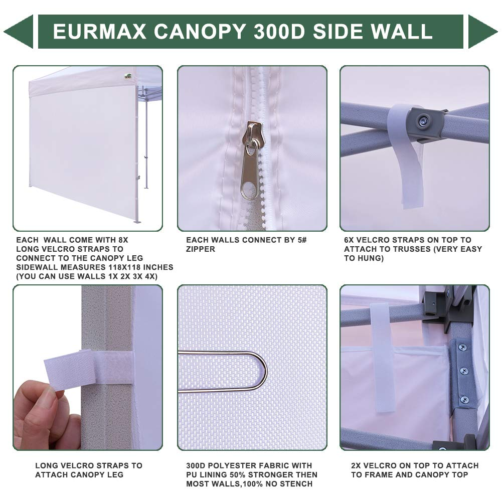 Eurmax Instant Sidewall for 10×10 Pop up Canopy, 1 Pack Only Black