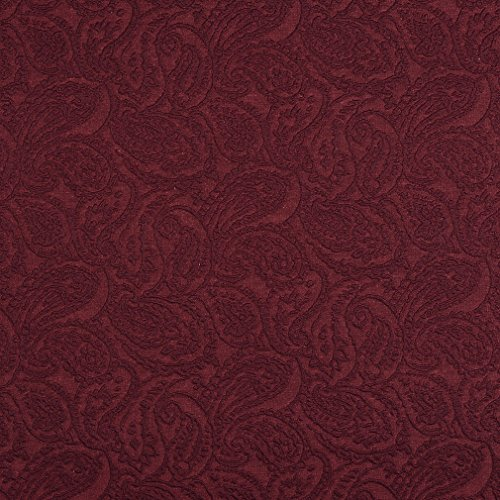 E572 Burgundy Paisley Jacquard Woven Upholstery Grade Fabric by The Yard ()
