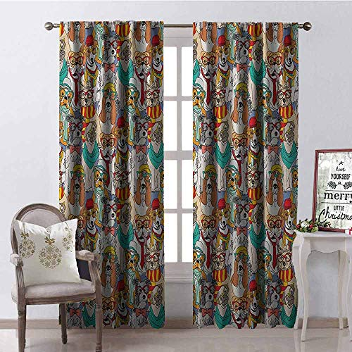 (GloriaJohnson Dog 99% Blackout Curtains Hipster Bulldog Schnauzer Pug Breeds with Glasses Hats Scarf Pattern Colorful Cartoon for Bedroom- Kindergarten- Living Room W52 x L54 Inch Multicolor )