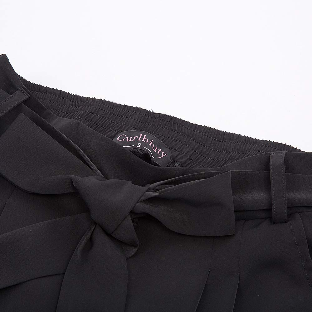 Curlbiuty Femme Pantalon Taille Haute Jambe Large Casual Pantalon Droit Grande Taille avec Ceinture