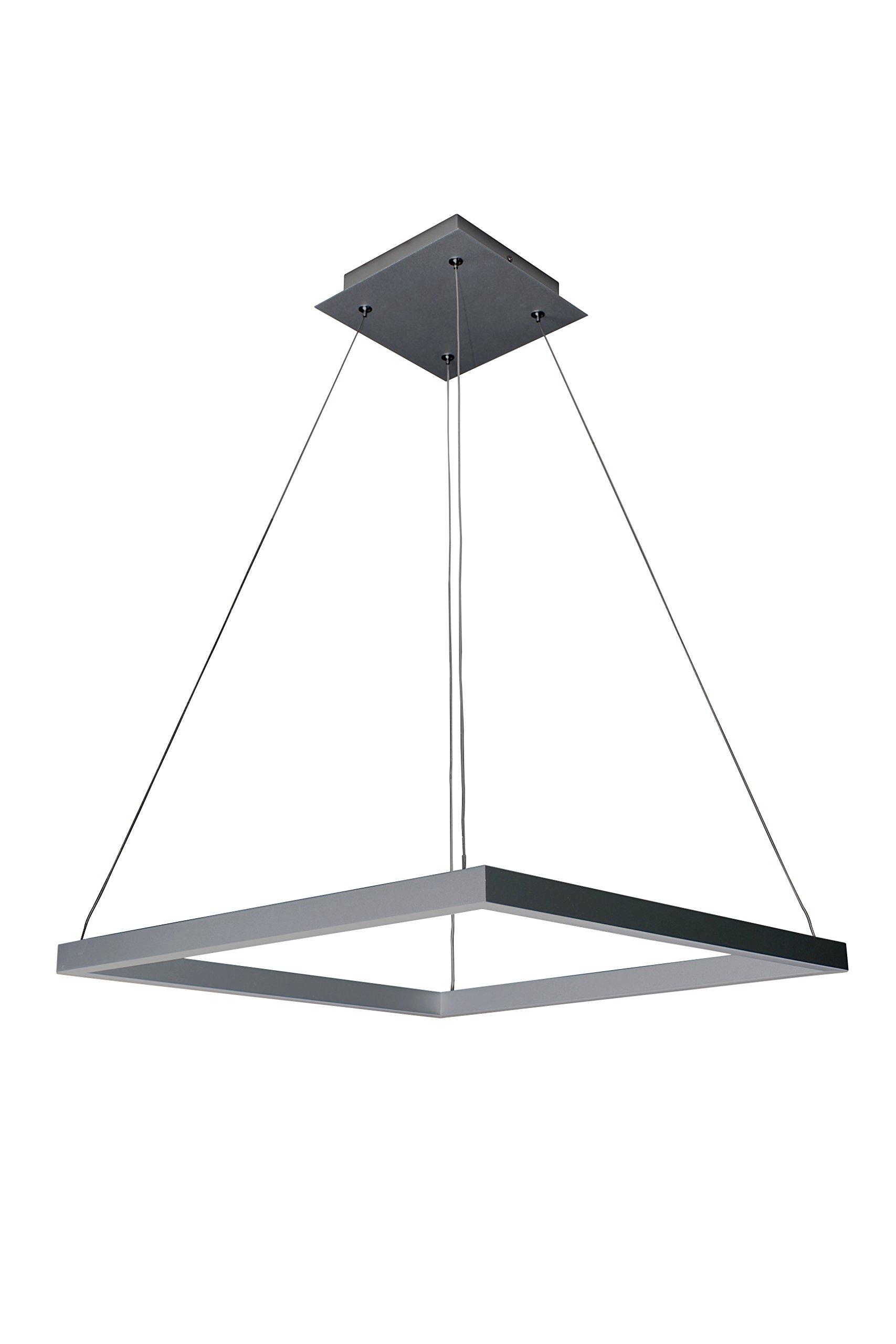 VONN VMC31620AL Modern Square LED Chandelier Lighting with Adjustable Hanging Light, Silver