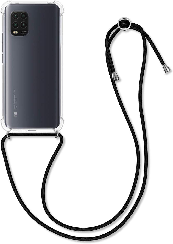 kwmobile Funda con Cuerda Compatible con Xiaomi Mi 10 Lite (5G) - Carcasa Transparente de TPU con Cuerda para Colgar en el Cuello