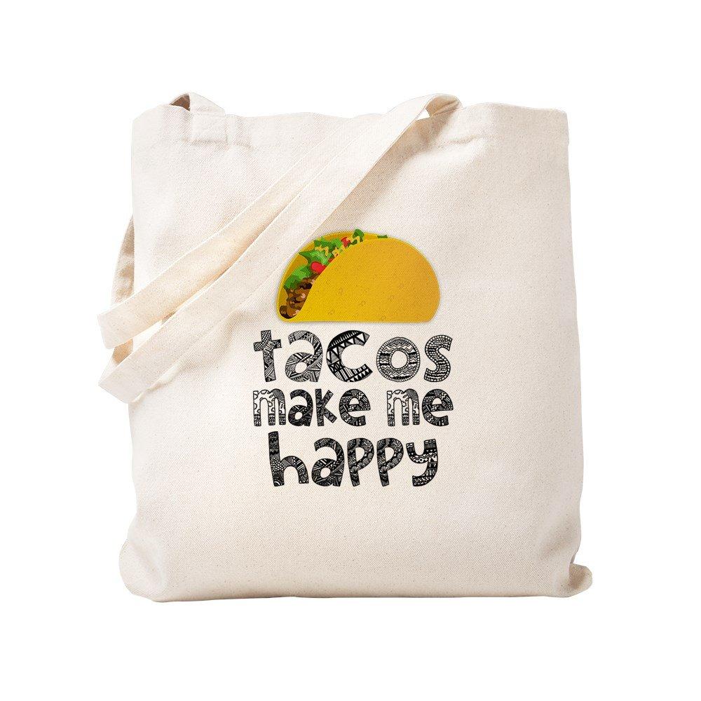 CafePress – Tacos Make Me Happy – ナチュラルキャンバストートバッグ、布ショッピングバッグ S ベージュ 1271039743DECC2 B0773V4LT4 S