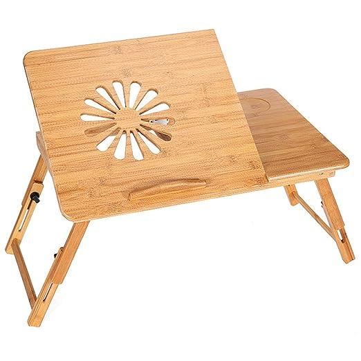 Escritorio Portátil Plegable, Mesa De Bambú Ajustable Para ...
