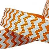 25 Yards 1'' Halloween Orange Grosgrain Ribbon White Chevron Pattern Printed Hairbow Craft Supplies Sewing Decorative