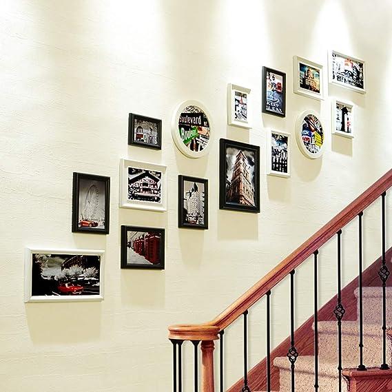 YLCJ Escalera Foto Pared Corredor Combinación Marco de Fotos Pared, Adorno mediterráneo Marco de Fotos Colgante de Pared (Color: Negro Blanco): Amazon.es: Hogar