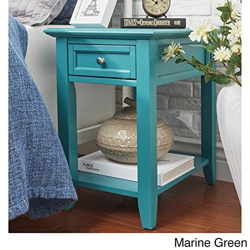 Shadyside Devonshire 1-Drawer Side Table with Charging Station (Marine Green) (Siemens Charging)