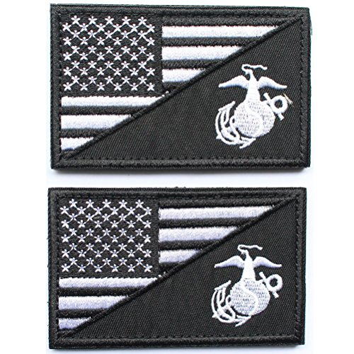 bundle-2-pieces-black-american-usa-flag-marine-corps-usmc-black-ops-patch-with-velcro-backing-decora