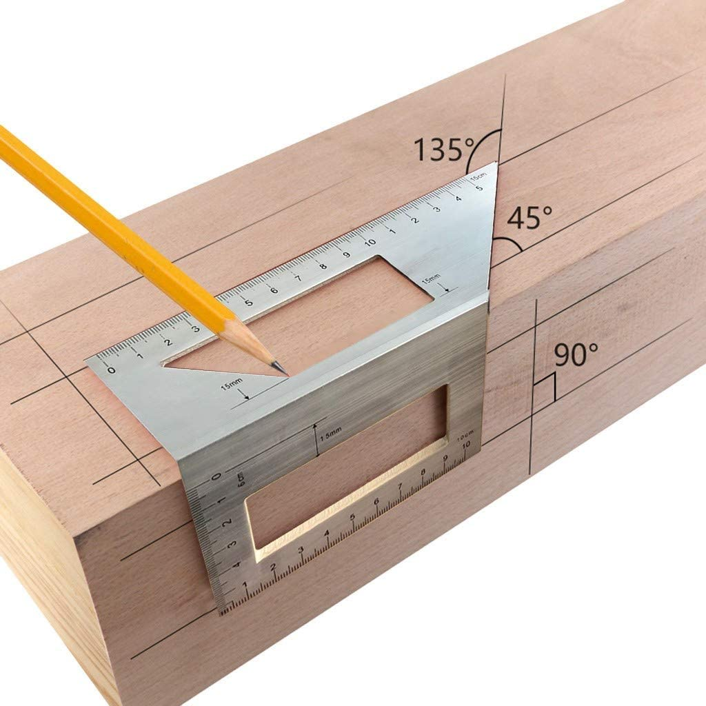 Angle Layout Measuring Ruler,Aluminum Woodworking Scriber T Ruler Multifunction 45//90 Degree Angle Ruler,Carpentry Squares,Full Metal Multi Angle Measuring Tool-Upgraded Aluminum Alloy Ruler