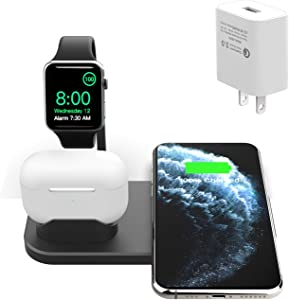 BNCHI 3 in1Metal Wireless Charging Station Dock,Charging Stand for Airpods Pro/1/2 and iWatch 5/4/3/2/iPhone 11/11 pro/X/XS/XR/Xs Max/8/8 Plus-(Include QC3.0 Adapter)(Black)