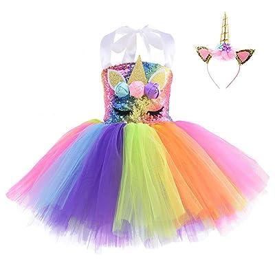 Girls Unicorn Dress Pageant Flower Costume Kids Unicorn Fancy Dress Tutu Ball Gowns: Clothing