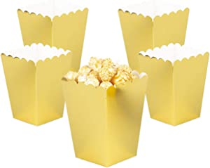 YESON Gold Popcorn Boxes Mini Paper Popcorn Box for Party,Pack of 36
