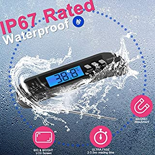 Digital Instant Read Meat Thermometer, Best Waterproof Ultra Fast Thermometer with Backlight, Great for Grilling & Cooking, Digital Food Thermometer for Kitchen
