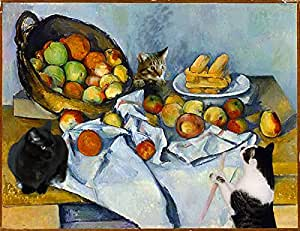 "Cat Art Prints, Paul Cezanne Still Life Parody, 8 1/2"" X 11"" Giclee, 11"" X 14"" Mat By Deborah Julian"