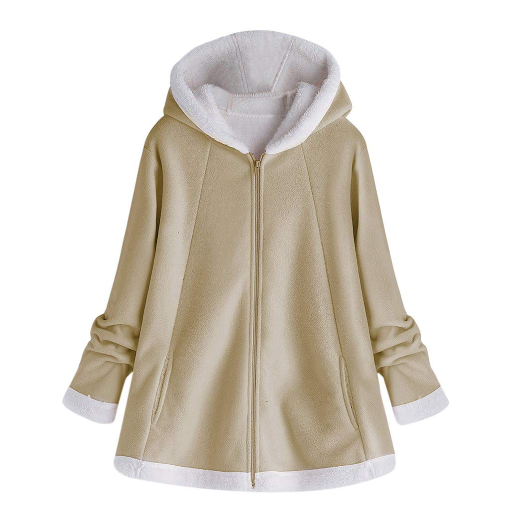 Women Fall Winter Coat with Soft Fur Lined Casual Plush Hoodie Jacket Outwear Open Front Cardigan (M, Khaki) by Dasuy