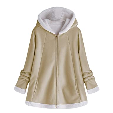 DOGZI Abrigo Mujer Invierno Tallas Grandes Bolsillo Cremallera Mantener Caliente Lana Caliente Abrigo De Algodón Cardigan
