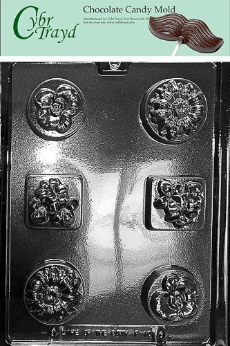 Cybrtrayd Life of the Party F101 Flower Daisy Pansy Orchid Lily Chocolate Candy Mold in Sealed Protective Poly Bag Imprinted with Copyrighted Cybrtrayd Molding Instructions