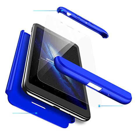 hyujia Compatible Xiaomi Redmi 6 Funda(2018) Carcasa 360° Ultra Fina Protectora cojín+Vidrio Templado Pantalla Protector,3 in 1 PC Hard Caja Caso Skin ...