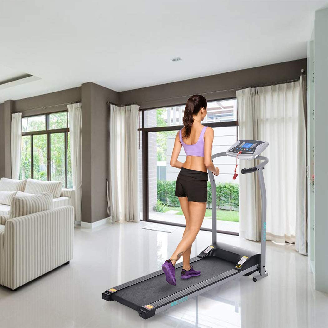ANCHEER Treadmill for Small Spaces,Compact Treadmills with LCD Monitor Motorized,Pulse Grip and Safe Key,Top Indoor Exercise Machine Trainer Walking Jogging Running for Home /& Office Workout