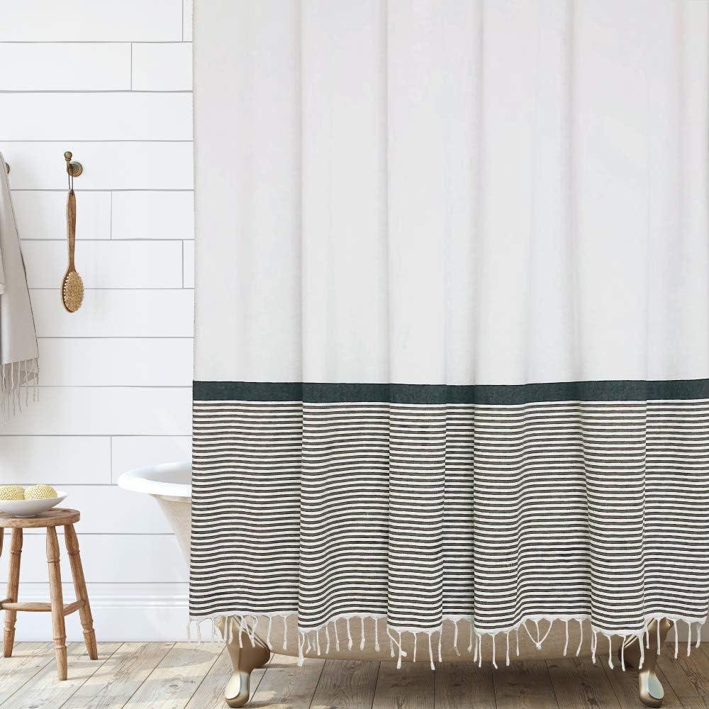 Modern Farmhouse Tassel Shower Curtain Soft White and Black Striped Fabric Shower Curtain Bathroom Decor, 72x72