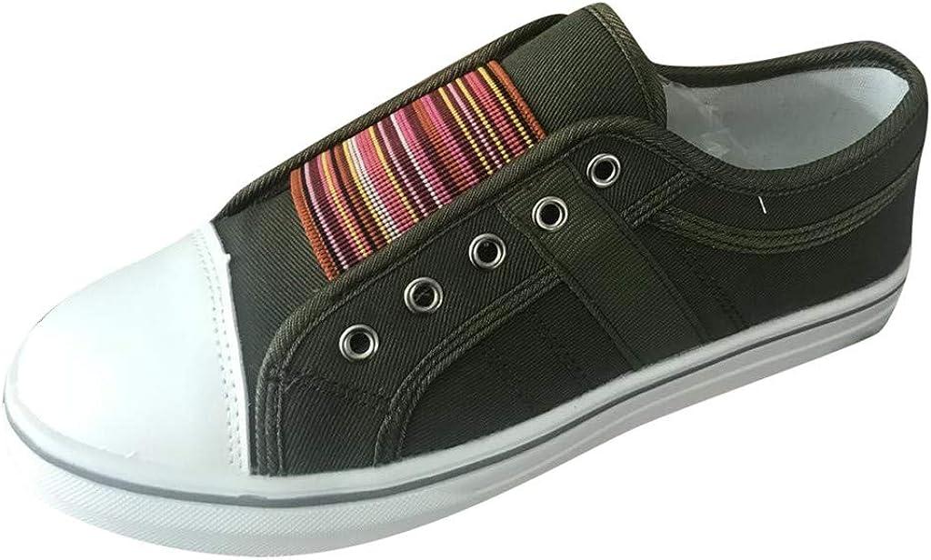 Qingsiy Zapatillas Deportivas de Mujer Gimnasio Fitness Correr Ligero Comodos Respirable Zapatos Casuales de Punta Redonda de Verano para Mujer Zapatillas Planas de Banda elástica al Aire Libre: Amazon.es: Ropa y accesorios