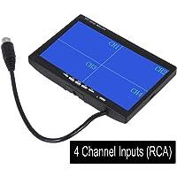 """Cocar 7"""" TFT LCD Retrovisore Posteriore Quad Split Monitor per Auto Camion con Telecomando, 12V-24V 800*480HD Schermo con 4 RCA canali di Ingressi Video w / Parasole Anti-riflesso"""