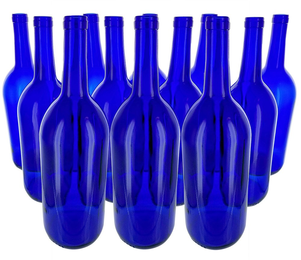 12 - Cobalt Blue Bordeaux Flat Bottom 1.5 Ltr. Glass Bottles for Bottle Trees, Crafting, Parties,Wedding Center Piece , Decor , Home Brew , Beer, Wine by Antiques Ahead